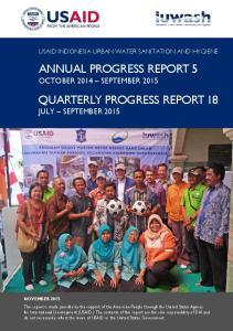 ANNUAL PROGRESS REPORT 5 OCTOBER 2014 SEPTEMBER 2015 QUARTERLY PROGRESS REPORT 18 JULY SEPTEMBER 2015