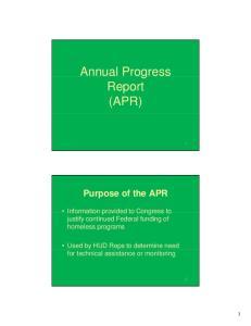 Annual Progress Report (APR)