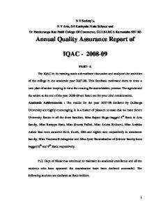 Annual Quality Assurance Report of IQAC