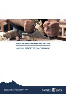 ANNUAL REPORT 2015 OUR BANK