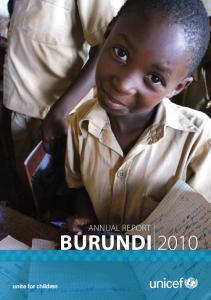 ANNUAL REPORT BURUNDI 1. Annual report BURUNDI unite for children