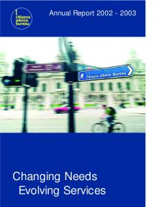 Annual Report Changing Needs Evolving Services