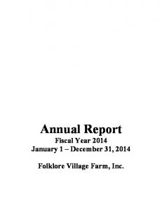 Annual Report Fiscal Year 2014 January 1 December 31, 2014