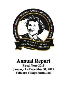 Annual Report Fiscal Year 2015 January 1 December 31, 2015 Folklore Village Farm, Inc