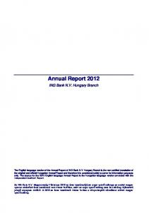 Annual Report ING Bank N.V. Hungary Branch