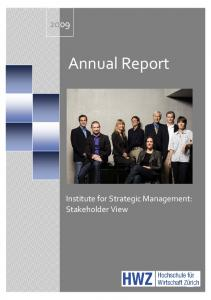 Annual Report. Institute for Strategic Management: Stakeholder View
