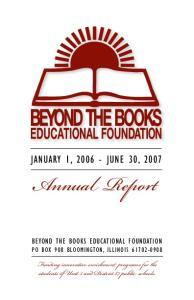 Annual Report JANUARY 1, JUNE 30, 2007