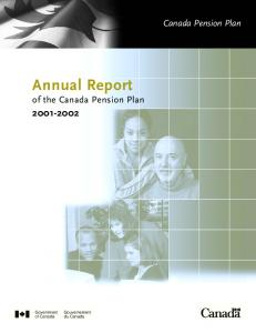 Annual Report of the Canada Pension Plan