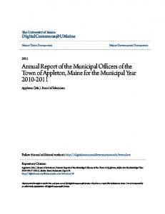 Annual Report of the Municipal Officers of the Town of Appleton, Maine for the Municipal Year