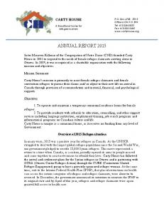 ANNUAL REPORT Overview of 2015 Refugee situation