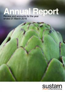 Annual Report. Review and accounts for the year ended 31 March 2016