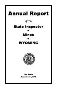 Annual Report. State Inspector. Mines Of WYOMING. Of The. Year Ending December 31, 2015