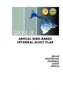 ANNUAL RISK-BASED INTERNAL AUDIT PLAN AKLAN PROVINCIAL INTERNAL AUDIT OFFICE