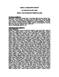 ANNUAL TREASURER S REPORT VILLAGE OF ORLAND PARK FISCAL YEAR ENDING SEPTEMBER 30, 2008