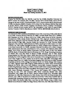 Annual Treasurer's Report Village of Lake in the Hills Fiscal Year Ending December 31, 2012