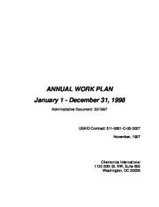 ANNUAL WORK PLAN January 1 - December 31, 1998