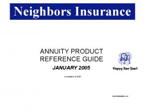 ANNUITY PRODUCT REFERENCE GUIDE