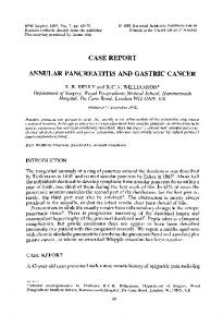 ANNULAR PANCREATITIS AND GASTRIC CANCER