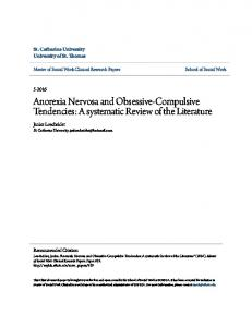 Anorexia Nervosa and Obsessive-Compulsive Tendencies: A systematic Review of the Literature