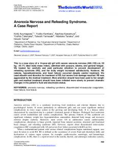 Anorexia Nervosa and Refeeding Syndrome. A Case Report
