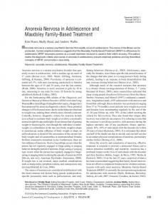 Anorexia Nervosa in Adolescence and Maudsley Family-Based Treatment