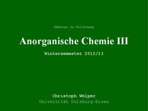 Anorganische Chemie III