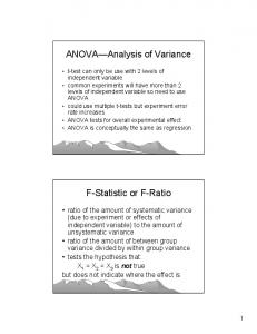 ANOVA Analysis of Variance. F-Statistic or F-Ratio