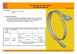 Anschlusskabel für Geräte Klasse II Typ SN-134 (SN-14)