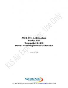 ANSI ASC X.12 Standard Version 4010 Transaction Set 210 Motor Carrier Freight Details and Invoice