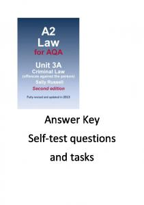 Answer Key Self-test questions and tasks