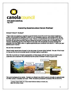 Answering Questions about Canola Biodiesel