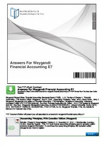 Answers For Weygandt Financial Accounting E7