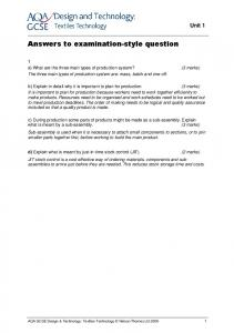 Answers to examination-style question