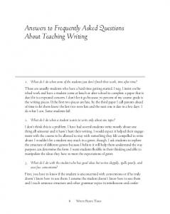 Answers to Frequently Asked Questions About Teaching Writing
