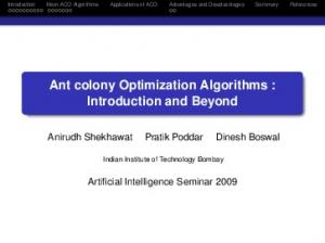 Ant colony Optimization Algorithms : Introduction and Beyond