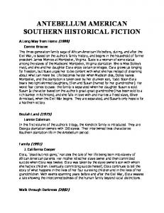 ANTEBELLUM AMERICAN SOUTHERN HISTORICAL FICTION