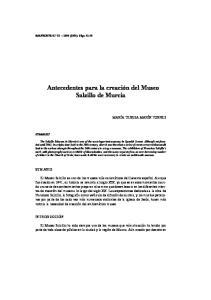 Antecedentes para la creación del Museo Salzillo de Murcia