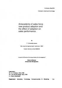 Antecedents of sales force new product adoption and the effect of adoption on sales performance