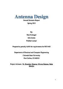 Antenna Design Second Semester Report Spring 2012