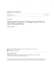 Antenuptial Contracts Contingent upon Divorce Are Not Invalid Per Se