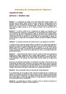 Anteproyecto de Ley Cooperativas de Trabajo (CNCT)