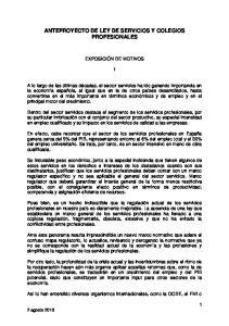 ANTEPROYECTO DE LEY DE SERVICIOS Y COLEGIOS PROFESIONALES