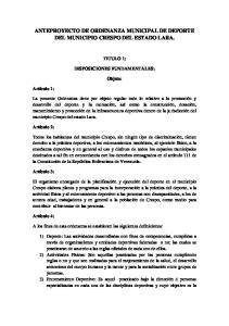 ANTEPROYECTO DE ORDENANZA MUNICIPAL DE DEPORTE DEL MUNICIPIO CRESPO DEL ESTADO LARA