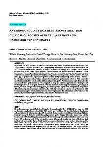 ANTERIOR CRUCIATE LIGAMENT RECONSTRUCTION: CLINICAL OUTCOMES OF PATELLA TENDON AND HAMSTRING TENDON GRAFTS