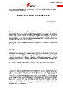 ANTHROPOLOGICAL FOUNDATIONS OF HUMAN RIGHTS