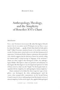 Anthropology, Theology, and the Simplicity of Benedict XVI s Chant