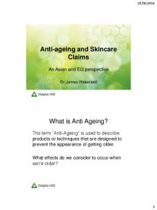 Anti-ageing and Skincare Claims