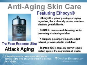 Anti-Aging Skin Care. Attack Aging. Featuring Ethocyn. Tru Face Essence Ultra