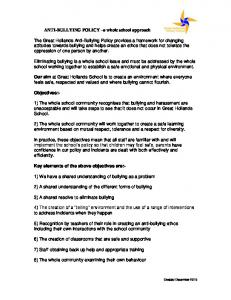 ANTI-BULLYING POLICY a whole school approach