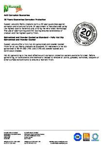 Anti Corrosion Guarantee. 20 Years Guarantee Corrosion Protection